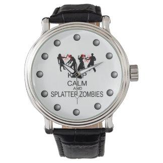 Mantenga los zombis tranquilos y de la salpicadura reloj