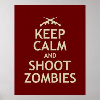 Mantenga los zombis tranquilos y del lanzamiento póster
