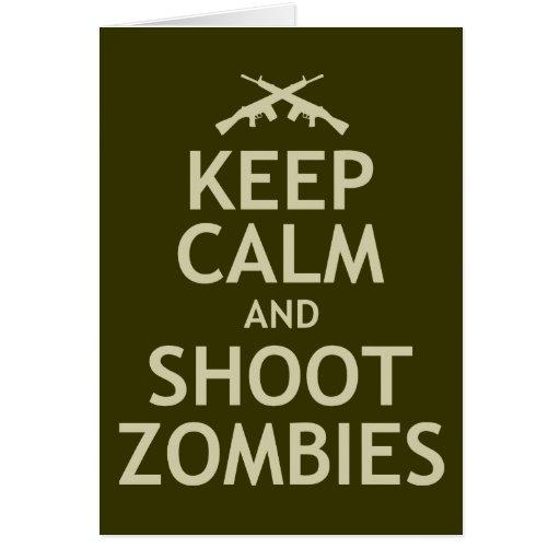 Mantenga los zombis tranquilos y del lanzamiento felicitacion
