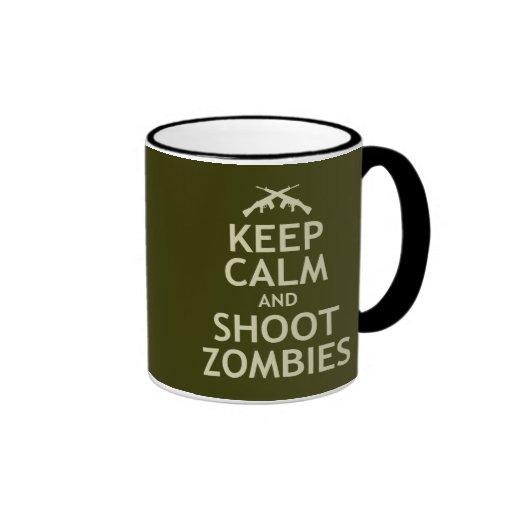 Mantenga los zombis tranquilos y del lanzamiento taza de dos colores