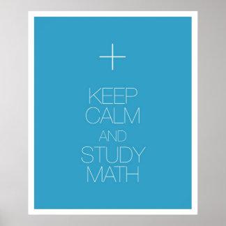 Mantenga matemáticas tranquila y del estudio posters
