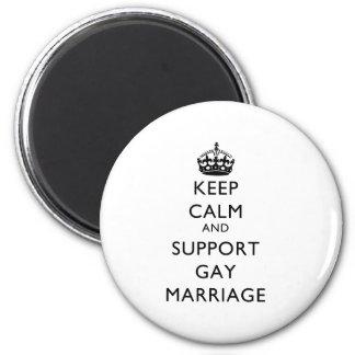 Mantenga matrimonio homosexual tranquilo y de la a imán redondo 5 cm