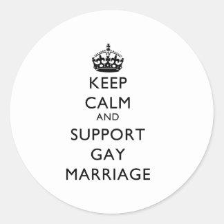 Mantenga matrimonio homosexual tranquilo y de la pegatina redonda