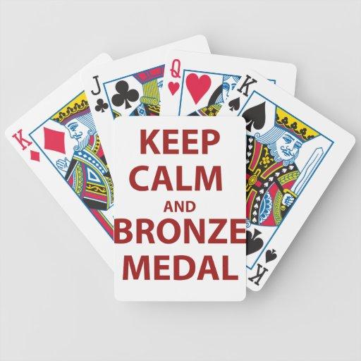 Mantenga medalla tranquila y de bronce cartas de juego