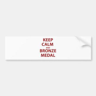 Mantenga medalla tranquila y de bronce pegatina para auto
