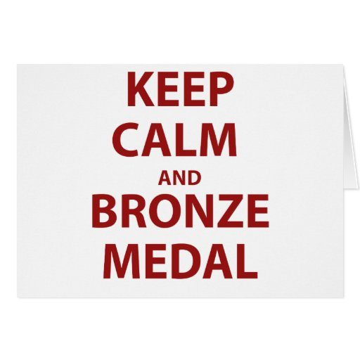 Mantenga medalla tranquila y de bronce tarjeton