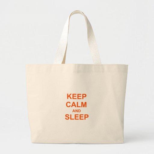 Mantenga naranja tranquilo y del sueño rosado bolsa tela grande