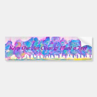 Mantenga nuestro aire limpio y plante un árbol etiqueta de parachoque