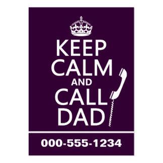 Mantenga papá tranquilo y de la llamada - todos lo plantillas de tarjeta de negocio