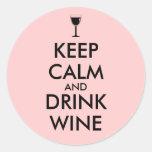 Mantenga personalizado tranquilo y de la bebida pegatina redonda