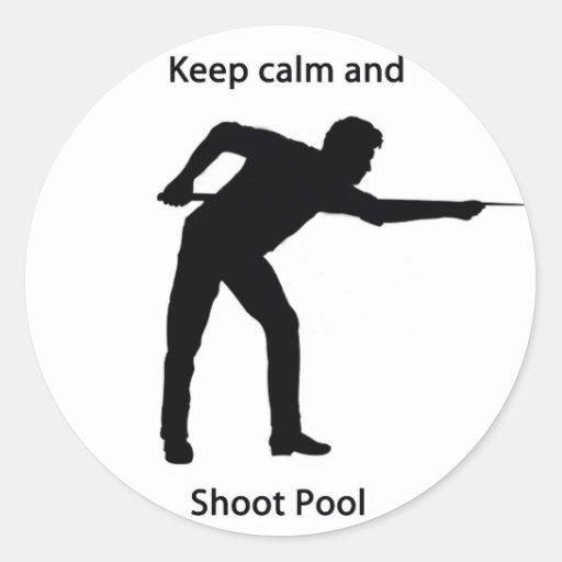 Mantenga piscina tranquila y del lanzamiento pegatina redonda