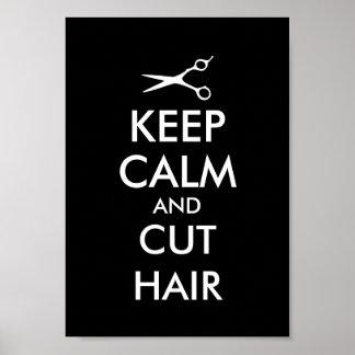 Mantenga poster tranquilo y del corte del pelo