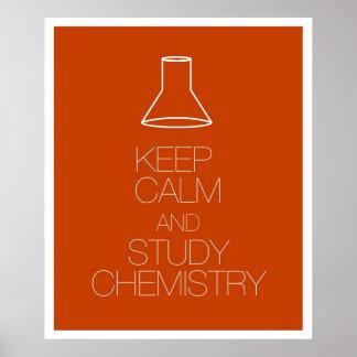 Mantenga química tranquila y del estudio posters