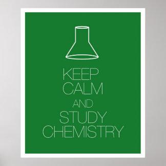 Mantenga química tranquila y del estudio póster