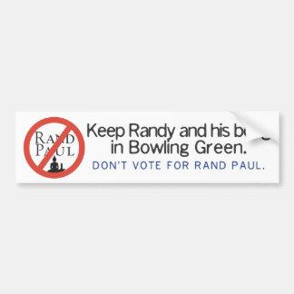 Mantenga Randy y el suyo para bong Bowling Green Pegatina Para Auto