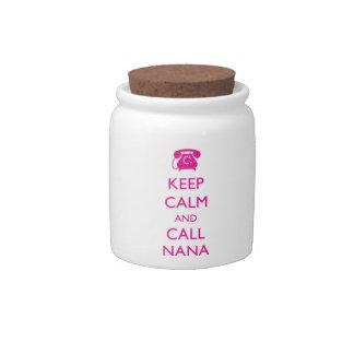 Mantenga regalo tranquilo y de la llamada de Nana  Jarras Para Caramelos