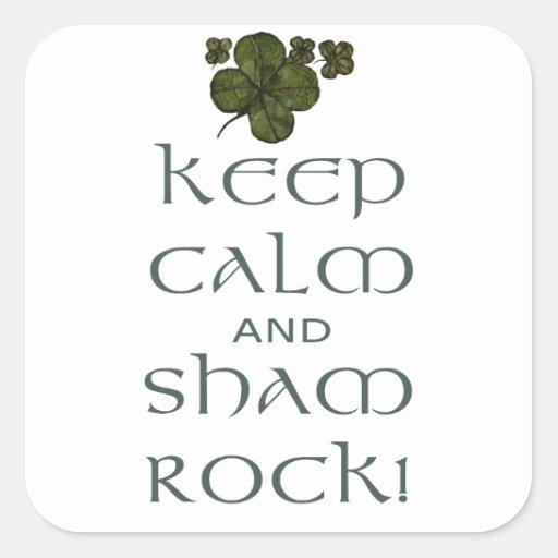 ¡Mantenga roca tranquila y del impostor! Calcomanía Cuadradase