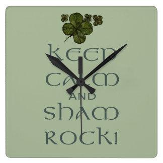 ¡Mantenga roca tranquila y del impostor! Reloj Cuadrado