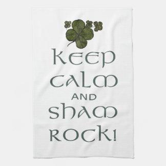 ¡Mantenga roca tranquila y del impostor! Toallas De Mano