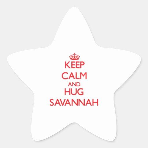 Mantenga sabana tranquila y del abrazo pegatina en forma de estrella