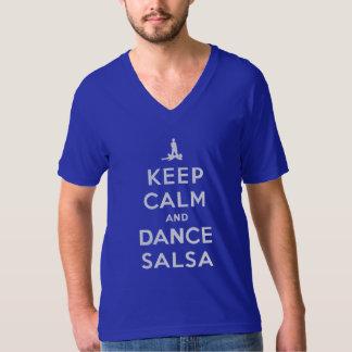 Mantenga salsa tranquila y de la danza remera