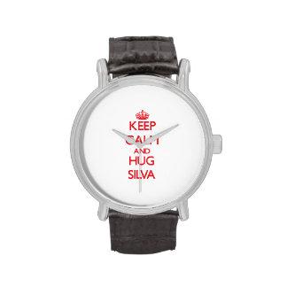 Mantenga Silva tranquilo y del abrazo Reloj De Mano