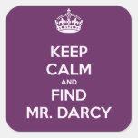 Mantenga Sr. tranquilo y del hallazgo Darcy Jane Calcomanias Cuadradas