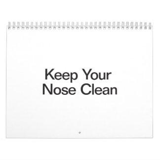 Mantenga su nariz limpia calendarios