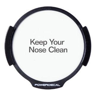 Mantenga su nariz limpia pegatina LED para ventana