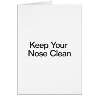 Mantenga su nariz limpia tarjeton