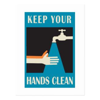 mantenga sus manos limpias postal