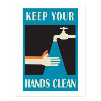 mantenga sus manos limpias postales