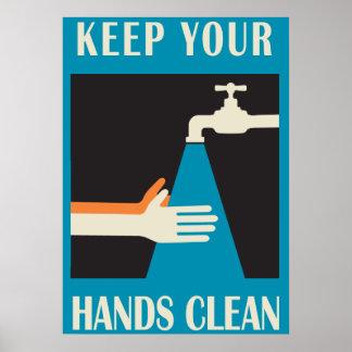 mantenga sus manos limpias póster