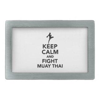 Mantenga tailandés tranquilo y de la lucha de Muay Hebilla De Cinturón Rectangular
