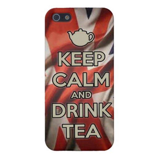 MANTENGA té tranquilo y de la bebida iPhone 5 Fundas