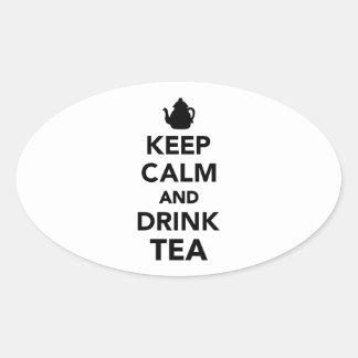 Mantenga té tranquilo y de la bebida pegatina ovalada