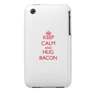 Mantenga tocino tranquilo y del abrazo iPhone 3 carcasa