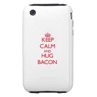 Mantenga tocino tranquilo y del abrazo iPhone 3 tough protectores