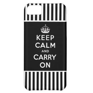 Mantenga tranquilo, continúe el iPhone 5 rayas Funda Para iPhone 5C