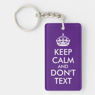 Mantenga tranquilo no hacen texto llavero rectangular acrílico a doble cara