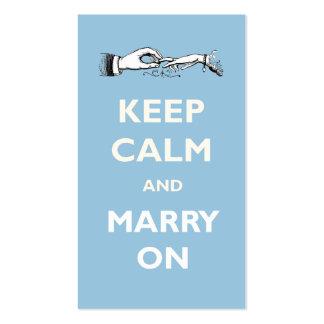 Mantenga tranquilo para casarse en negocio del bod tarjetas de visita