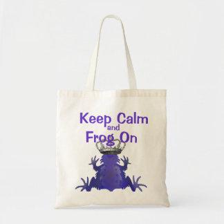 Mantenga tranquilo para continuar la rana púrpura bolsa