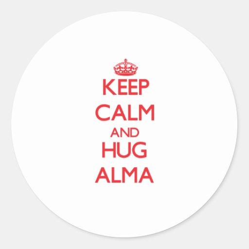 Mantenga tranquilo y abrazo Alma Etiquetas Redondas