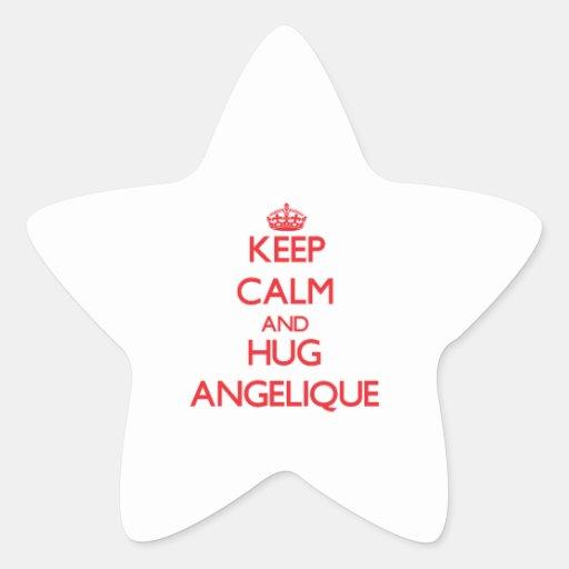 Mantenga tranquilo y abrazo Angelique Colcomanias Forma De Estrella