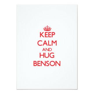 """Mantenga tranquilo y abrazo Benson Invitación 5"""" X 7"""""""