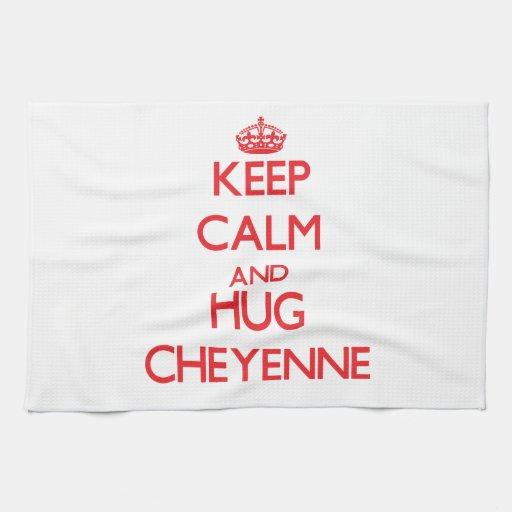 Mantenga tranquilo y abrazo Cheyenne Toallas De Mano