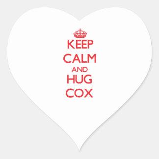 Mantenga tranquilo y abrazo $cox pegatina en forma de corazón