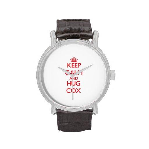 Mantenga tranquilo y abrazo $cox relojes de pulsera