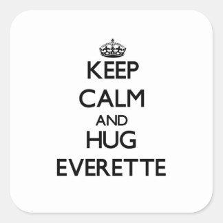 Mantenga tranquilo y abrazo Everette Pegatinas Cuadradases Personalizadas