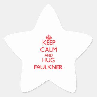 Mantenga tranquilo y abrazo Faulkner Pegatina En Forma De Estrella